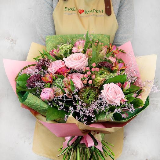 Букет из роз, альстромерий и ранункулюса - Розовое утро
