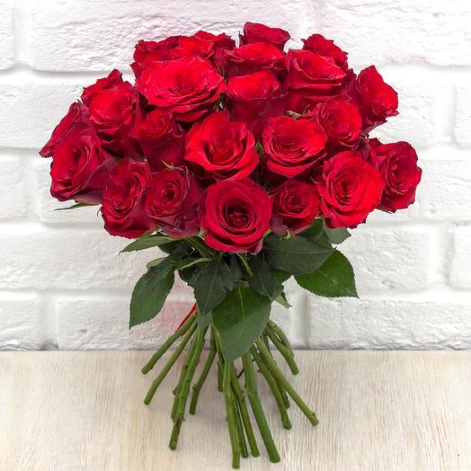25 бордовых роз 40 см