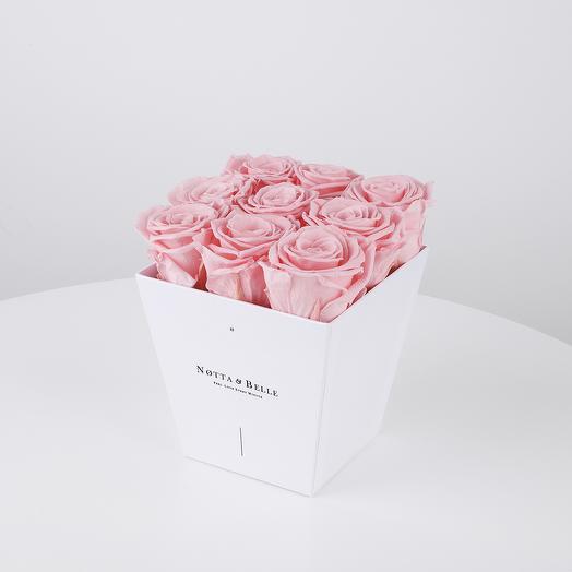 Долговечный букет из 9 роз (розовый): букеты цветов на заказ Flowwow