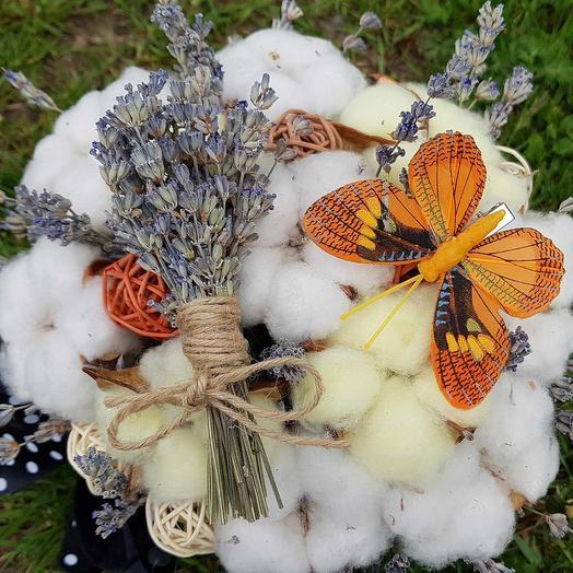 Композиция из хлопка и лаванды: букеты цветов на заказ Flowwow