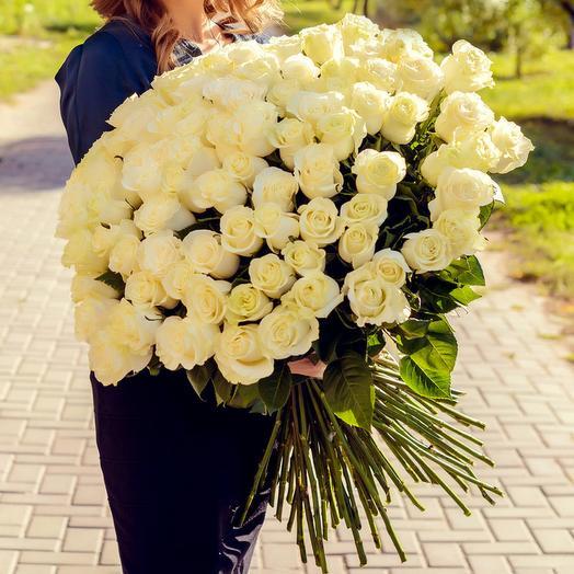 Букет из 101 белой розы  Премиум