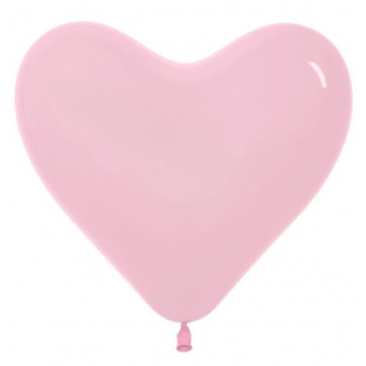 Шар сердце пастель розовый. Размер 12