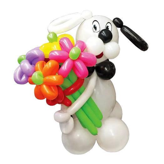 Собачка с букетом из 5 ромашек