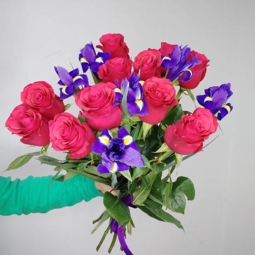 Ирис с розой
