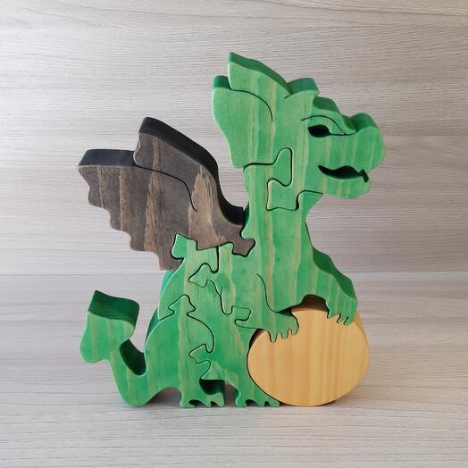 """Деревянный пазл из кедра ручной работы """"Дракон с солнцем"""", 6 элементов"""