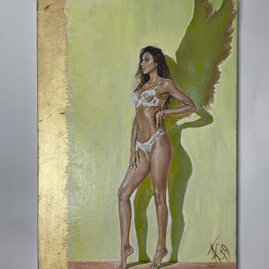 """Картина """"Девушка с крыльями"""" 50*70 см. масло, холст"""