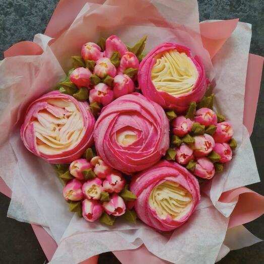 Вкусный букет чизкейков: пион, тюльпаны, пионовидные розы