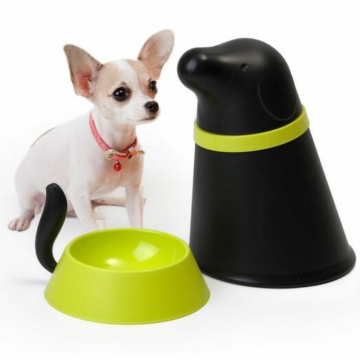 Контейнер + миска для собаки Pupp черная