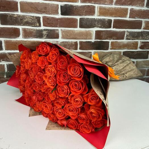 Букет из 51 оранжевой розы (70 см). N898