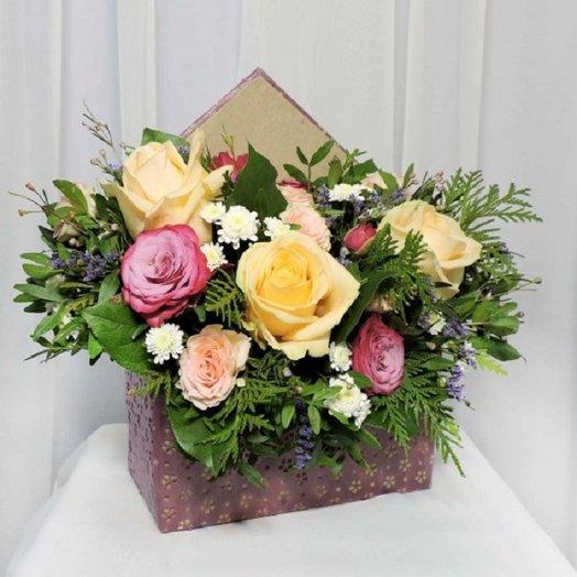 Конвертик с розами: букеты цветов на заказ Flowwow