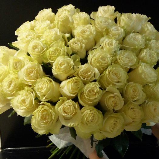 Букет из 55 белых голландских роз 70 см: букеты цветов на заказ Flowwow
