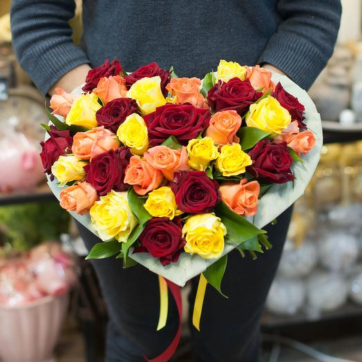 """Букет из роз """"Сердце"""": букеты цветов на заказ Flowwow"""