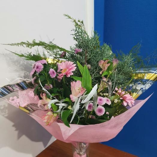 Букет из гермини, сантини и альстромерии: букеты цветов на заказ Flowwow
