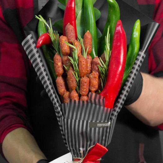 Мужской букет из колбасы 13: букеты цветов на заказ Flowwow