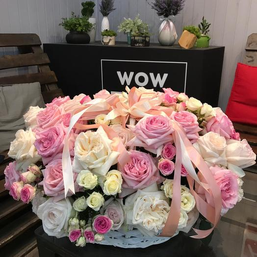 """Корзина пионовидных роз """"Ароматное очарование"""": букеты цветов на заказ Flowwow"""