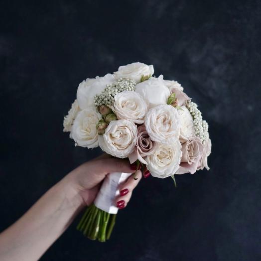 Букет невесты с пудровыми розами м озотамнусом: букеты цветов на заказ Flowwow