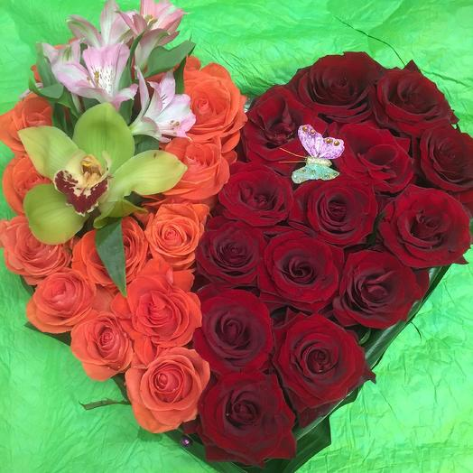 Сердце 50/50: букеты цветов на заказ Flowwow
