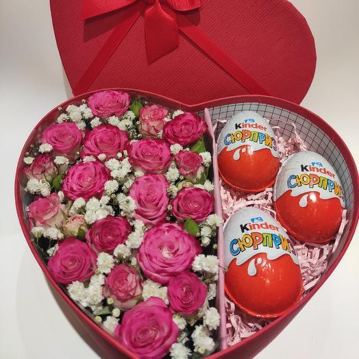 Коробка сердце 💜: букеты цветов на заказ Flowwow