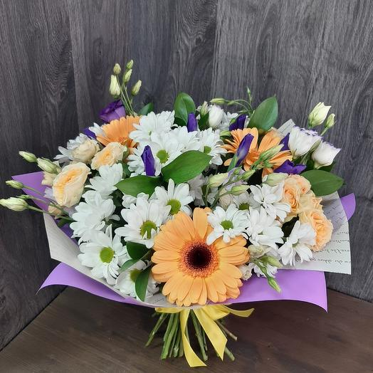 Bouquet of modular of gerberas,irises and spray chrysanthemums