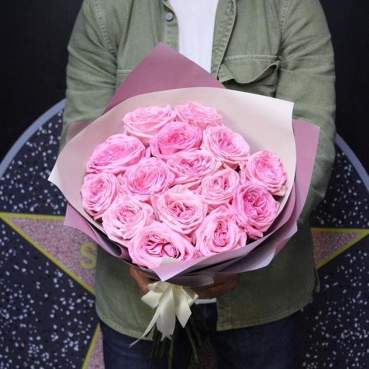 15 пионовидных роз Pink O Hara