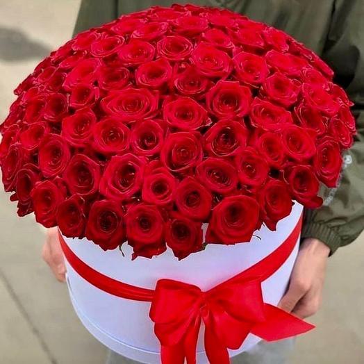 Красная роза 101 шт в коробке
