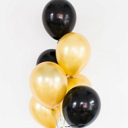 """Связка воздушных шаров""""Черный-золото"""""""