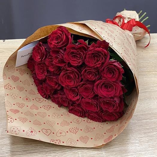 Букет Роза в крафте 2