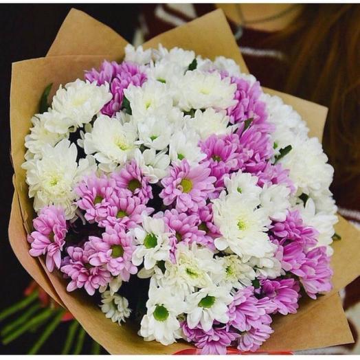 Сиренево-Белый букет хризантем