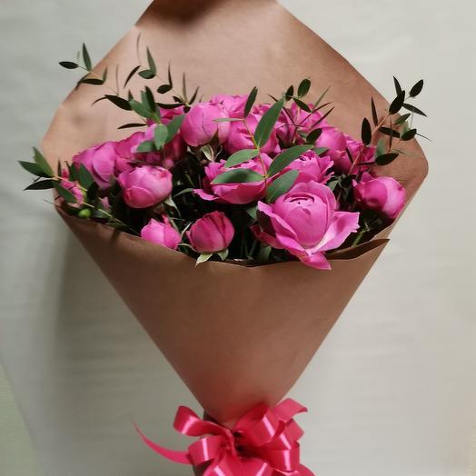 Розы бомбастик в крафте