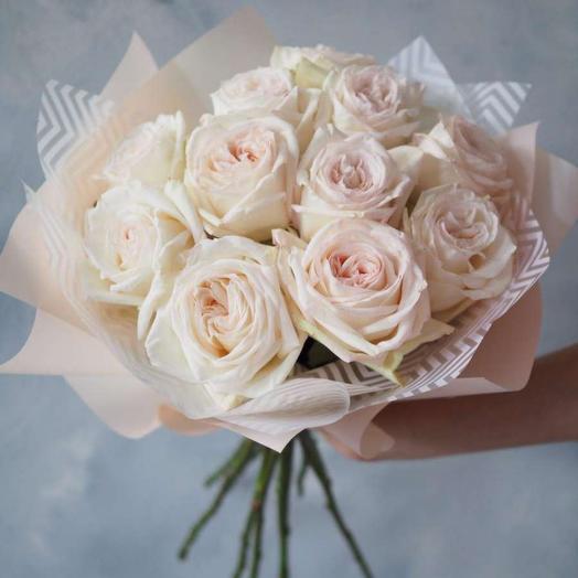 11 пионовидных роз Вайт Охара