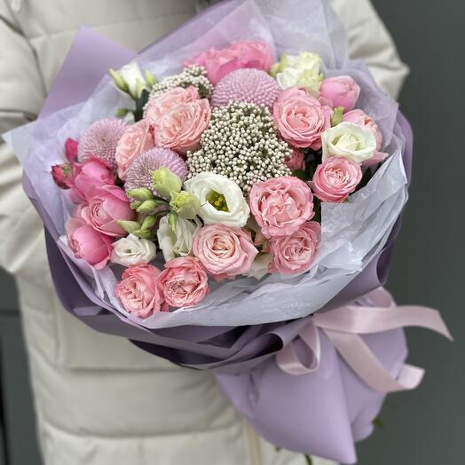 Букет Пудра из кустовой розы, эустомы и озотамнуса