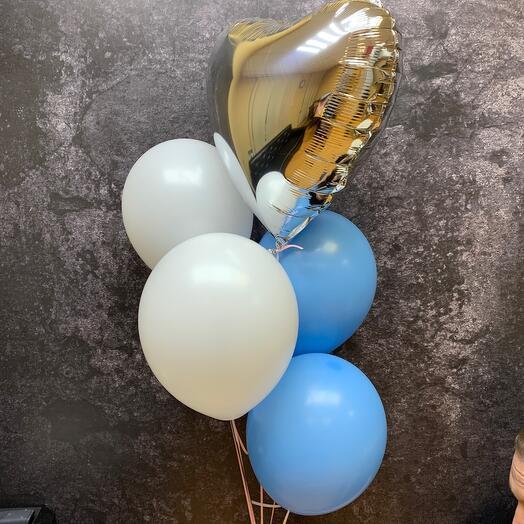 Набор воздушных шаров с серебряным сердцем blue