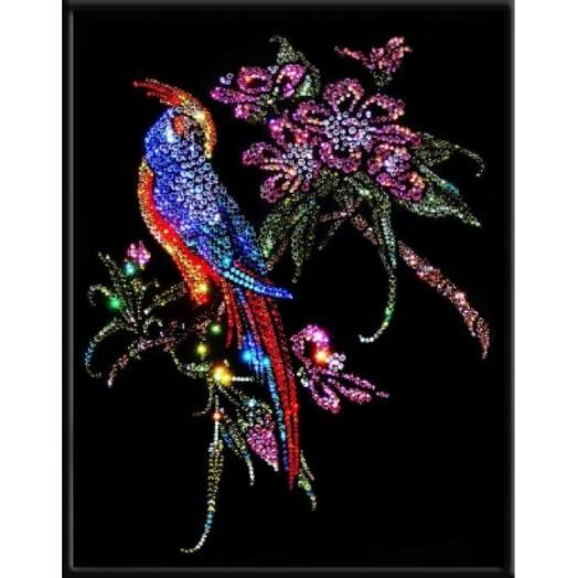 """Картина с кристаллами Swarovski """"Райская птица"""""""