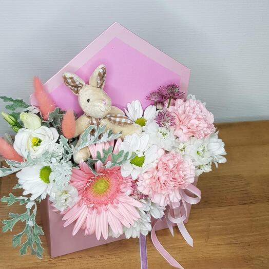 NEW!!! Цветы в конверте с мягкой игрушкой