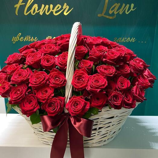 101 красная роза в корзине😻