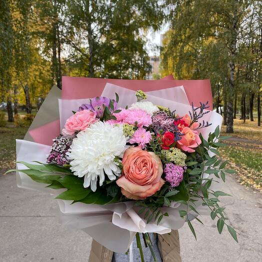 ✅Сборный букет  из роз , хризантем
