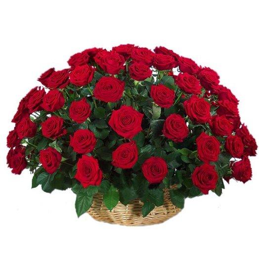 Корзина роз А Ля Бордо: букеты цветов на заказ Flowwow