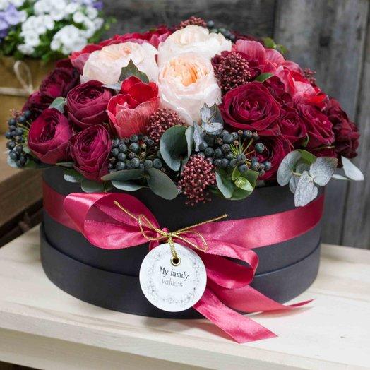 Цветы в шляпной коробке L (25 см) 0530