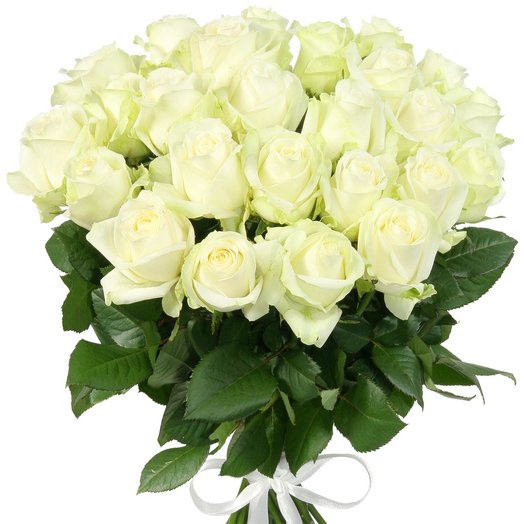 "25 белых роз ""Аваланж"""