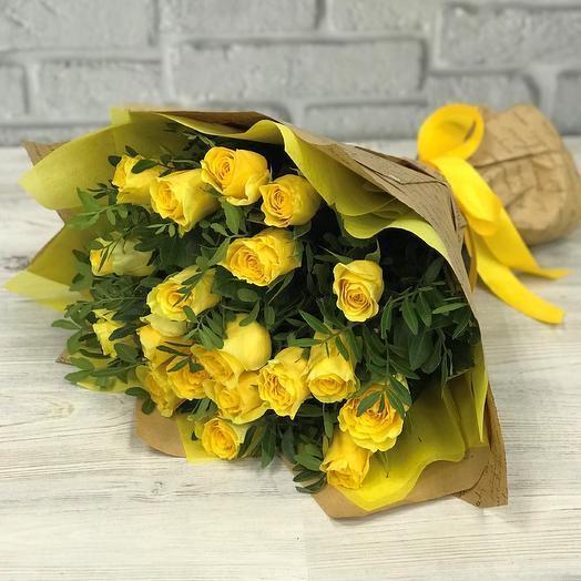 Желтая роза 19 шт с писташ. N252: букеты цветов на заказ Flowwow