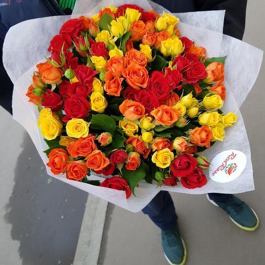 Кустовая роза микс 29 веточек: букеты цветов на заказ Flowwow