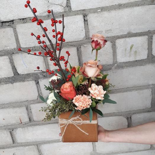 """Композиция в ящике """"Капучино"""": букеты цветов на заказ Flowwow"""