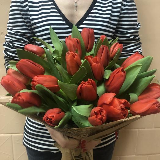 Букет красные тюльпаны 25: букеты цветов на заказ Flowwow