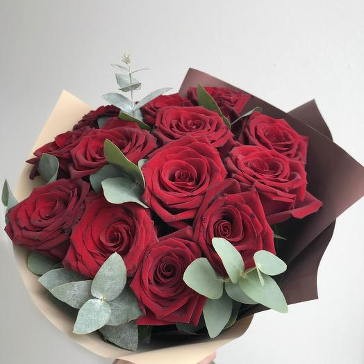 Bouquet of 13 red roses and eucalyptus