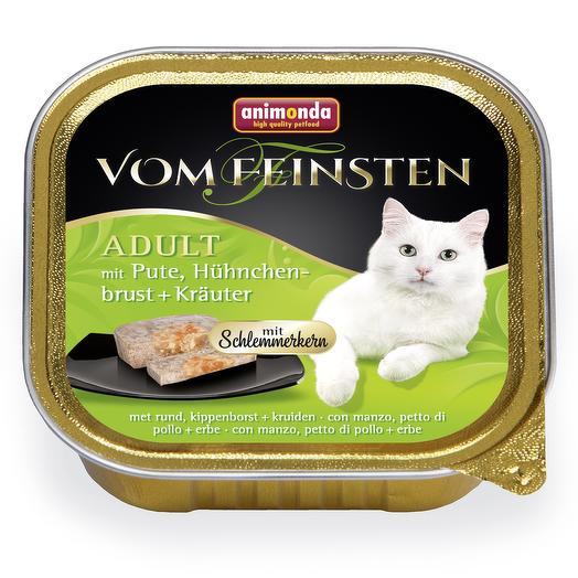 Animonda Vom Feinsten Adult Меню для гурманов индейка, куриная грудка, травы для кошек 100 г
