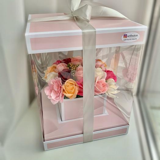Мыльные цветы в коробке аквариум