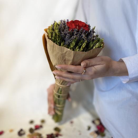 Эко букет из сухоцветов RozaRose Полевая Роза