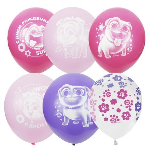 Набор шаров с днём рождения, дружные мопсы