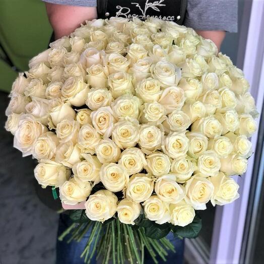 """101 роза """"Вайт Найт"""""""