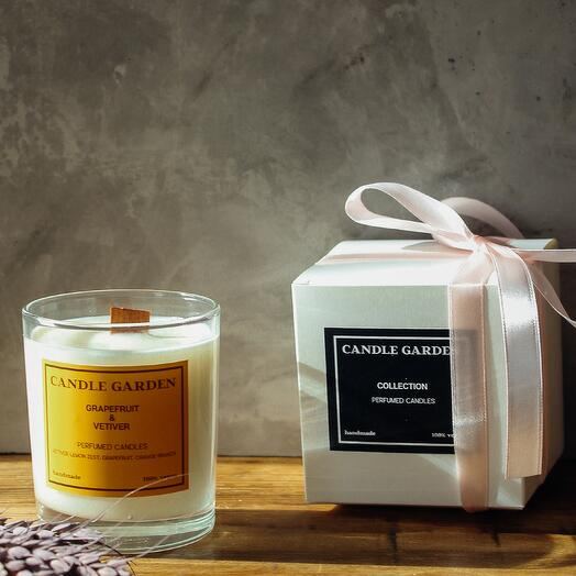 Соевая арома свеча Грейпфрут с деревянным фитилем, 200 мл